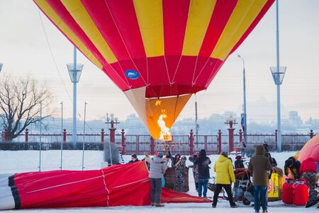 NIZHNY NOVGOROD, RUSSIA - FEBRUARY 24, 2018. Mass-start on the festival of hot air ballons