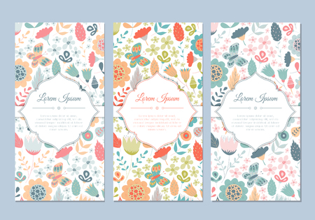 Illustration for Cute vintage doodle floral cards set for invitation, label, banner, wedding, party, baby shower, hen-party, mother's day, valentine. Beautiful background with gentle flowers and leaves. - Royalty Free Image