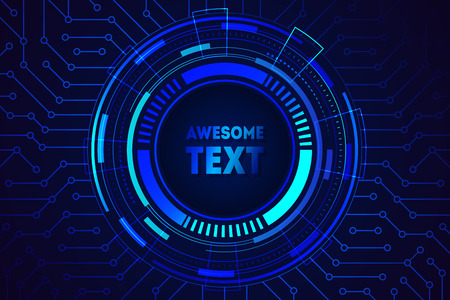 Illustration pour Futuristic abstract blue background with lights and gradients. Circle frame design with place for text. Sci fi technology future innovation concept. For blockchain promo banner. Vector illustration - image libre de droit