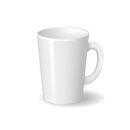 Illustration pour Realistic isolated white ceramic cup with shadows. For drinks, coffee, tea template for mock up brand design. Vector illustration - image libre de droit