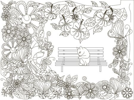 Illustration for Monochrome doodle hand drawn flowers background, cat washes on the bench. Anti stress stock vector illustration - Royalty Free Image