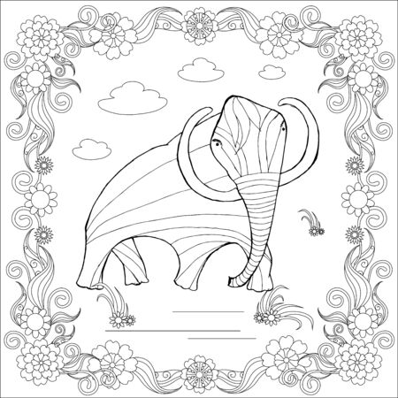 Illustration for Monochrome sketch mammoth in floral frame, coloring page antistress stock vector illustration for print, for coloring page - Royalty Free Image