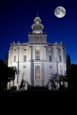 St. George Temple of The Church of Jesus Christ of Latter-day Saints at night with full moon
