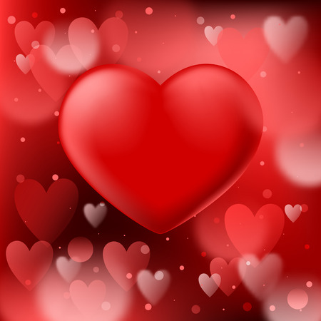 Illustration for Abstract red bokeh background with smooth realistic heart - Royalty Free Image