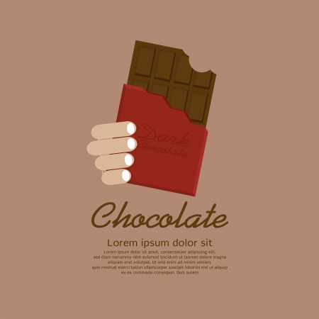 Chocolate Bar In Red Wrap Vector Illustration EPS10
