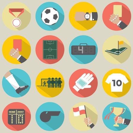 Ilustración de Flat Design Football   Soccer Icons Set 16 - Imagen libre de derechos