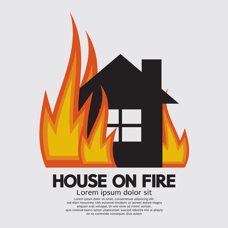 Illustration pour House On Fire Illustration - image libre de droit