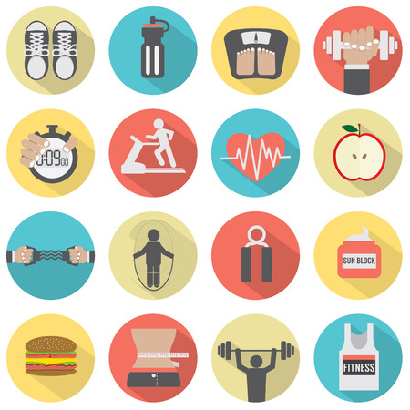 Modern Flat Design Fitness icon Set