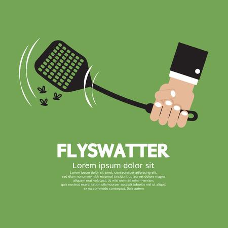 Flyswatter In Hand Vector Illustration