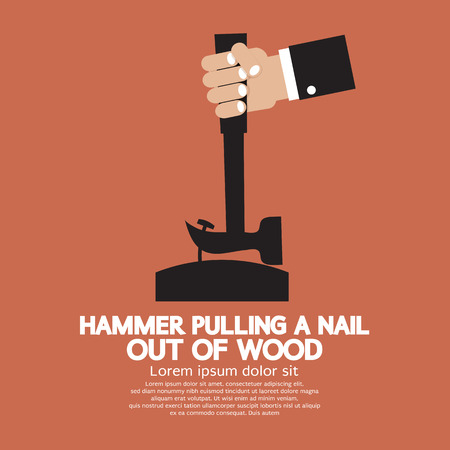 Hammer Pulling a Nail Out of Wood Vector Illustration