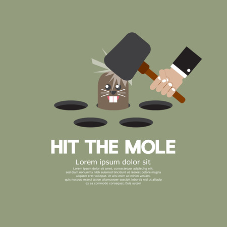 Hit The Mole Fun Game Vector Illustration