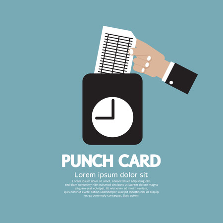 Worker Using Punch Card For Time Check Vector Illustration