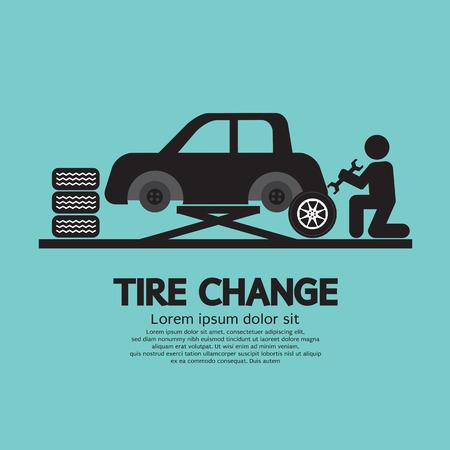 Person Changing Automobil Wheel Tire Graphic Symbol Vector Illustration