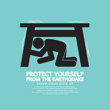 Protect Yourself From The Earthquake Vector Illustration