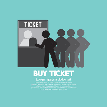 People Buy Ticket At Service Booth Vector Illustration
