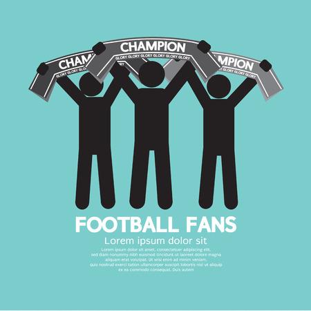 Ilustración de Football Fans With Champion Scarves Vector Illustration - Imagen libre de derechos
