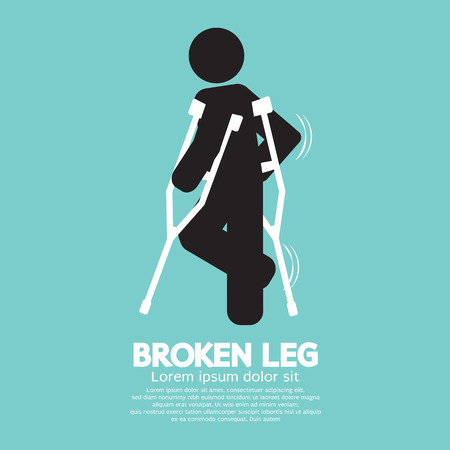 Black Symbol Broken Leg Vector Illustration