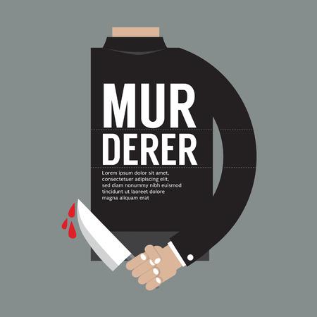 Bloody Knife In Murderer's Hand Vector Illustration