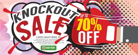 Knockout Sale 1500x600 pixel Vector Illustration