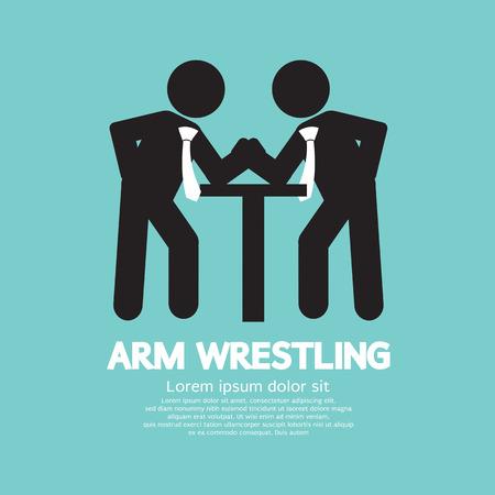 Businessman Arm Wrestling Symbol Vector Illustration