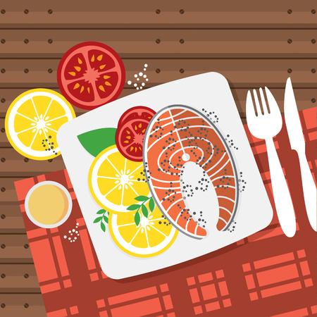 Top View Salmon Steak On Table Vector Illustration