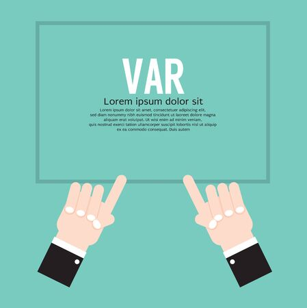 VAR or Video Assistant Referee Football Referee Shows Hands Sign Vector Illustration on White Background
