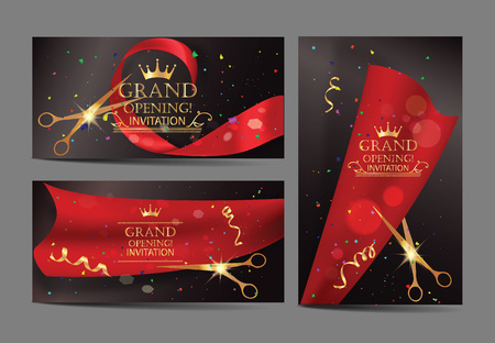 Illustration pour Set of grand opening banners with red ribbons and gold scissors - image libre de droit