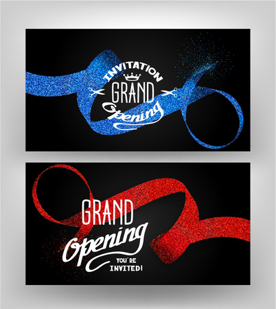 Illustration pour Grand opening cards with stippling ribbons on the dark background - image libre de droit