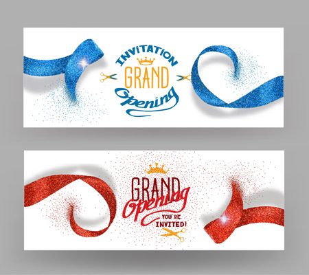 Illustration pour Grand opening banners with abstract red and blue ribbons - image libre de droit
