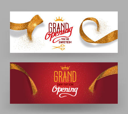 Illustration pour Grand Opening horisontal banners with abstract gold cut ribbons - image libre de droit