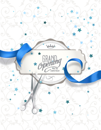 Illustration for Grand opening invitation card with blue silk ribbon and scissors - Royalty Free Image