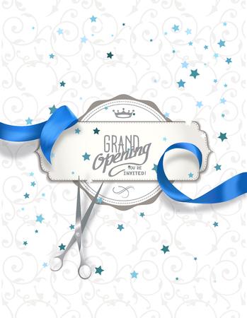Ilustración de Grand opening invitation card with blue silk ribbon and scissors - Imagen libre de derechos