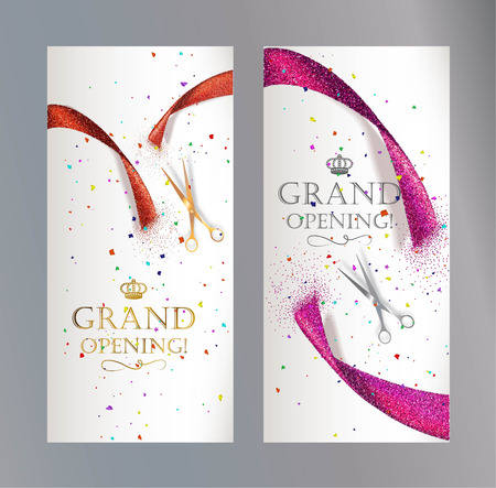 Illustration pour Grand Opening vertical banners with abstract red and pink ribbon and scissors - image libre de droit
