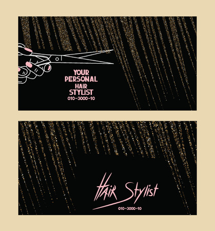 Illustration for Hair stylist business cards with gold textured abstract hair - Royalty Free Image