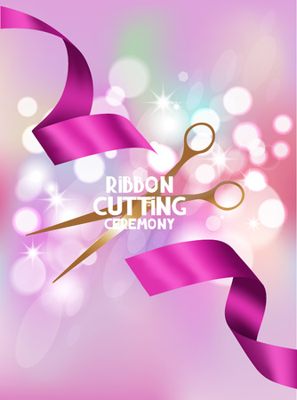 Illustration pour ribbon cutting ceremony card with pink ribbon and bokeh background - image libre de droit