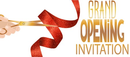 Illustration pour Grand opening invitation card with red textured ribbon and hand with scissors - image libre de droit