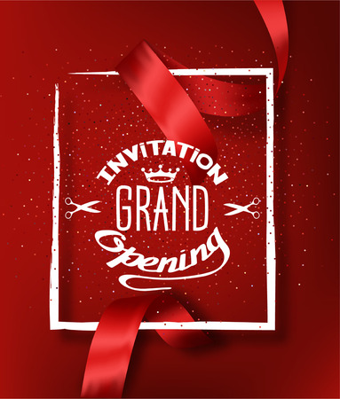 Illustration pour GRAND OPENING RED BACKGROUND WITH RED CUT SILK RIBBON - image libre de droit