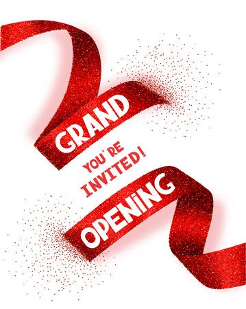 Illustration pour Grand Opening card with abstract red ribbon - image libre de droit
