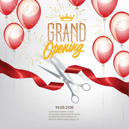 Illustration pour Grand opening banner with curled cut ribbon and air balloons. Vector illustration - image libre de droit