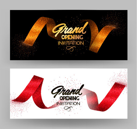 Illustration pour Grand opening banners with gold sparkling ribbons. Vector illustration - image libre de droit