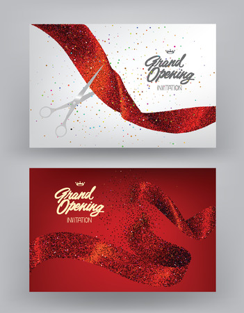 Illustration pour Grand opening banners with red sparkling ribbons. Vector illustration - image libre de droit