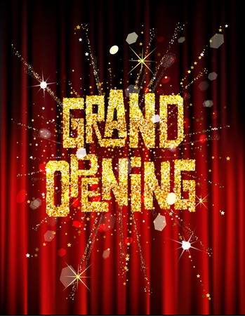 Illustration pour GRAND OPENING INVITATION BANNER WITH THEATER CURTAINS AND FIREWORKS - image libre de droit