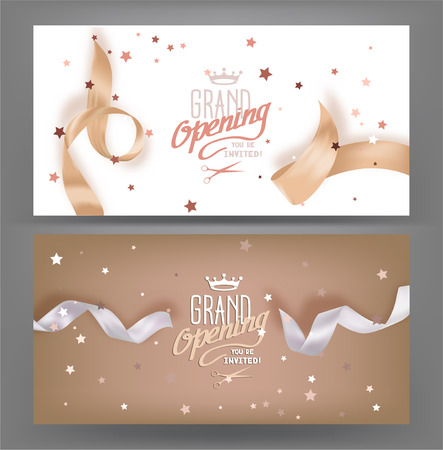 Illustration pour Grand opening banners with silk pastel toned ribbons. Vector illustration - image libre de droit