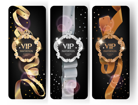 Illustration for VIP elegant vertical cards with silk ribbons, confetti and vintage frames. Vector illustration - Royalty Free Image