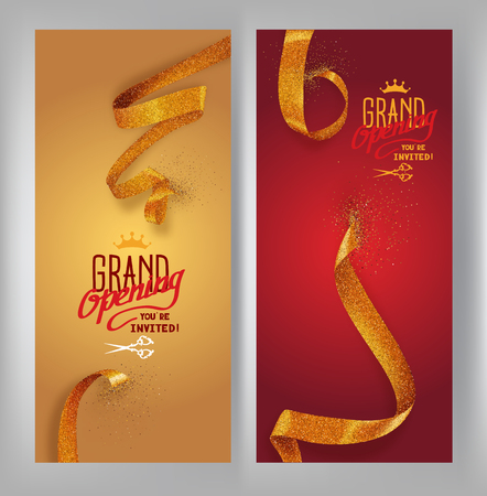 Illustration pour Set of grand opening vertical banners with gold sparkling ribbons. Vector illustration - image libre de droit