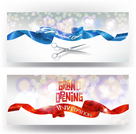 Grand opening cards with red and blue sparkling ribbons and scissors.  illustration
