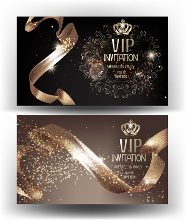 Illustration pour VIP Invitation banners with sparkling curly ribbons and crowns. Vector illustration - image libre de droit