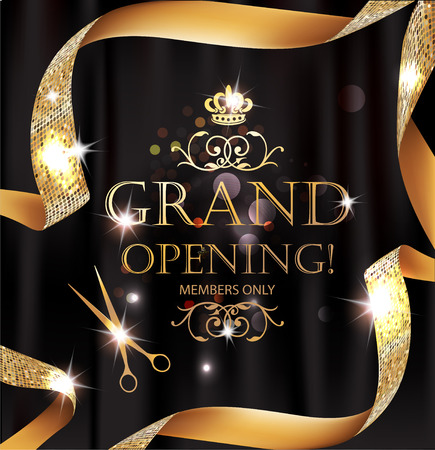 Illustration pour Elegant grand opening card with silk textured curled gold ribbon - image libre de droit