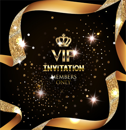 Illustration for Elegant VIP invitation card with silk textured curled gold ribbon - Royalty Free Image