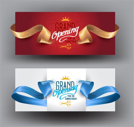 Illustration pour Grand opening background with curly cut ribbons. Vector illustration - image libre de droit